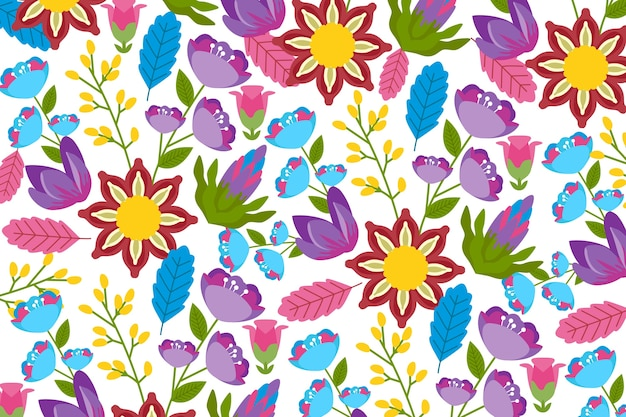 Exotic and colorful floral background Free Vector