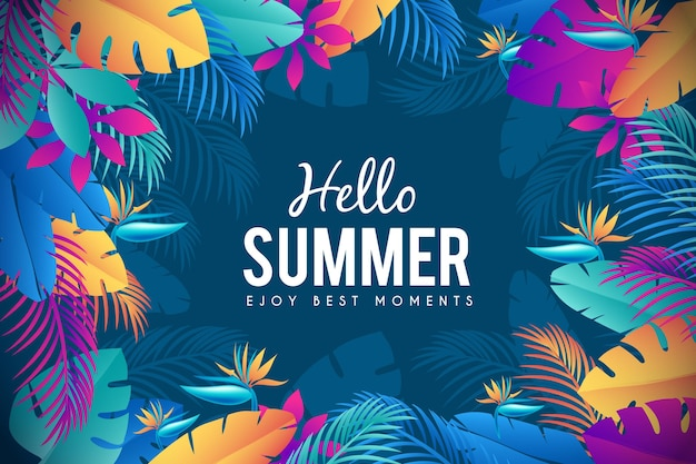 Exotic colourful leaves summer time background Free Vector