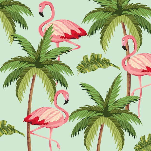 Exotic flamingos with palm tree background Premium Vector