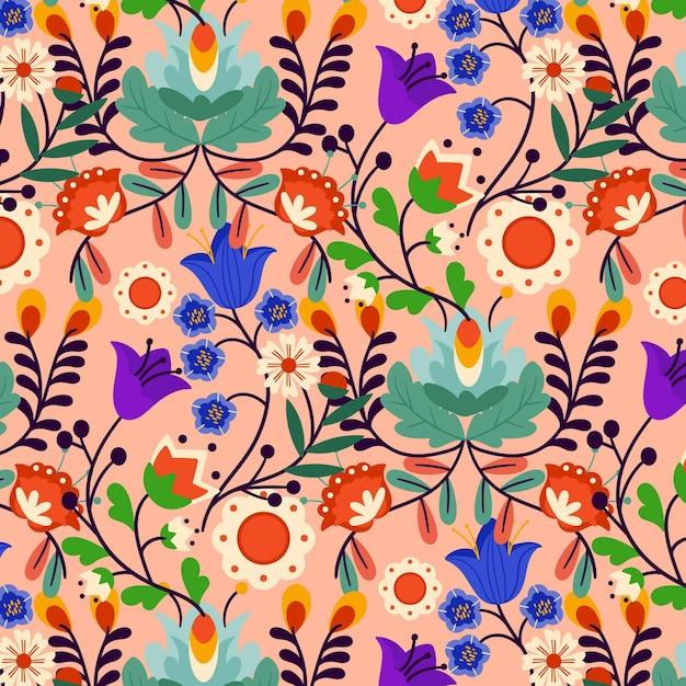 Motivo floreale esotico dipinto Vettore gratuito