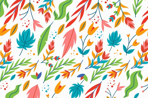 Exotic floral white background with leaves Free Vector