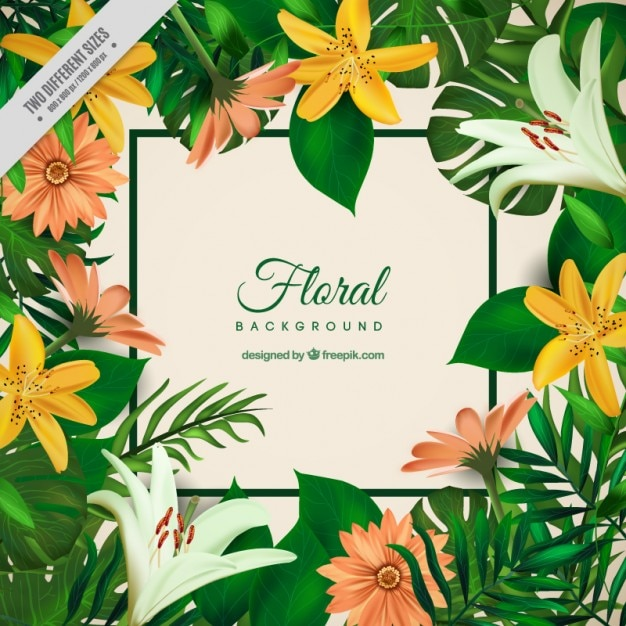 Exotic flowers and palm leaves\ background