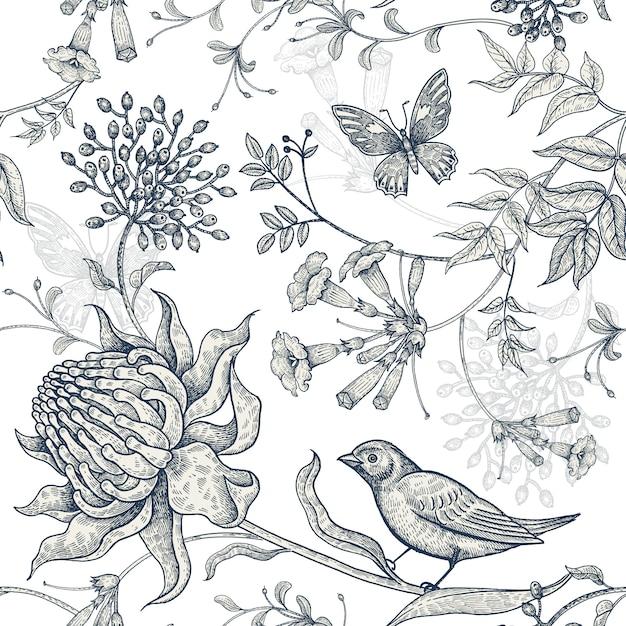 Экзотические цветы, бабочки и птицы. Premium векторы