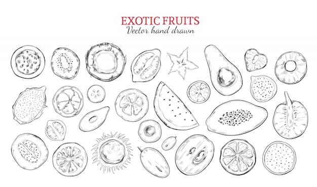 Набор экзотических фруктов и тропических ягод Бесплатные векторы