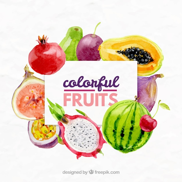 Exotic Fruits Background In Watercolor Effect Free Vector
