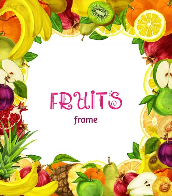 Exotic fruits frame background Premium Vector