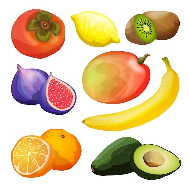 Exotic fruits set Free Vector