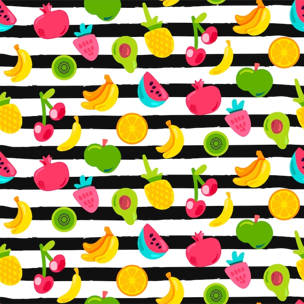 Exotic fruits on stripes seamless pattern Premium Vector