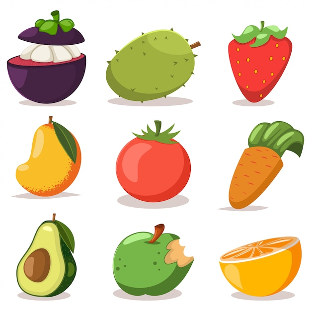 Exotic fruits and vegetables cartoon flat icons set isolated on white. Premium Vector