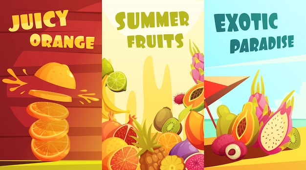 Exotic juicy tropical fruits vertical banners composition poster for summer vacation travelers Free Vector