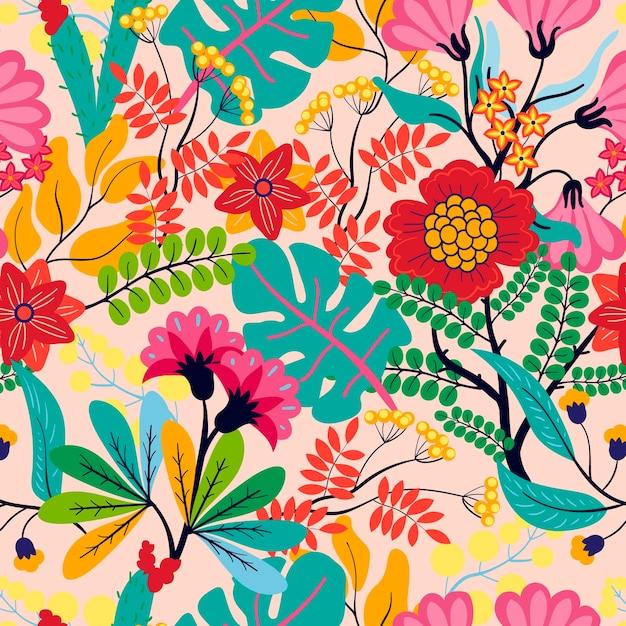 이국적인 나뭇잎과 꽃 패턴 무료 벡터