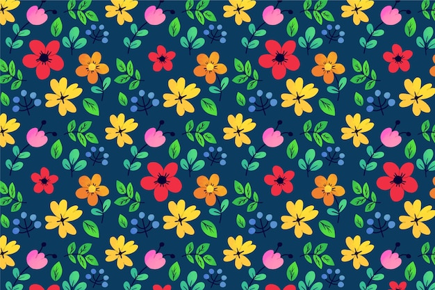 Exotic leaves and flowers ditsy loop pattern background Free Vector