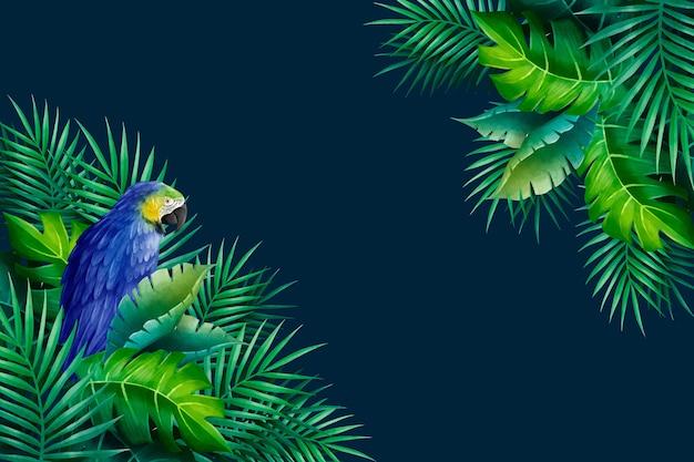 Экзотический попугай и листья фон Premium векторы