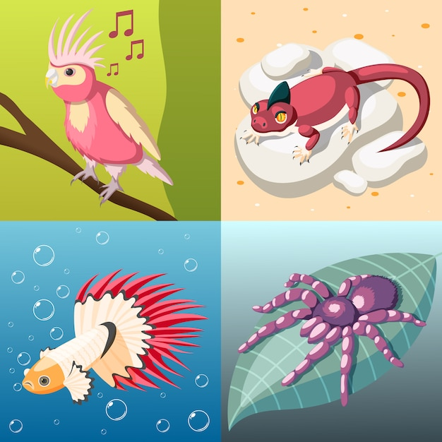 Exotic pets concept illustration Free Vector