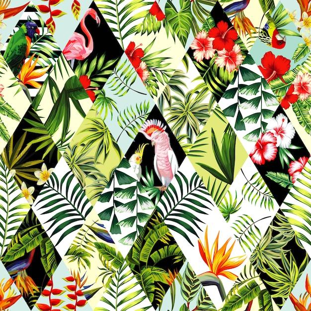 Exotic seamless pattern, patchwork Premium Vector