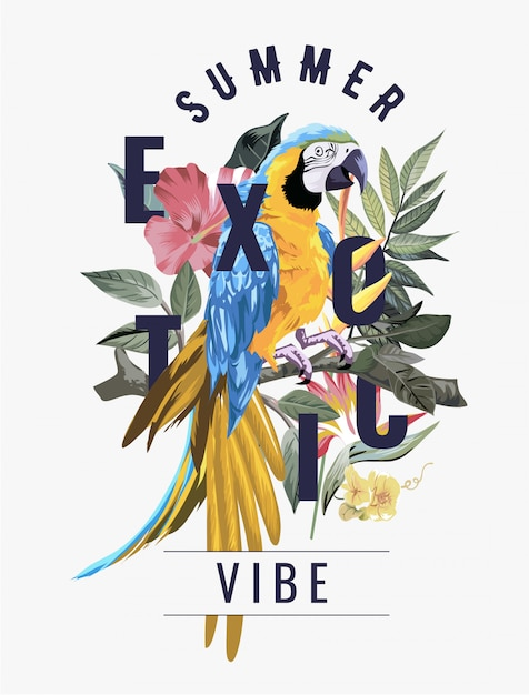 Exotic slogna on macaw bird in wild forest Premium Vector