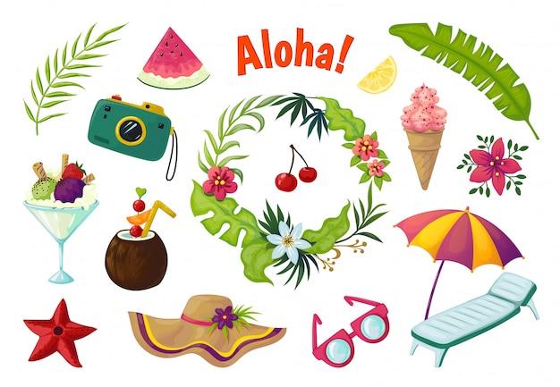 エキゾチックなステッカー。落書きフルーツの夏のパーティートロピカルコレクションの葉カクテルフラミンゴ、ジャングルの休暇の抽象的な要素 Premiumベクター