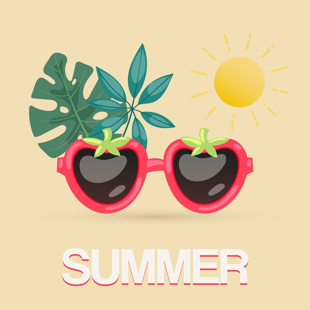Exotic summer sunglasses with tropical leaves and sun  illustration. tropical summer for beach party poster, travel blog, sunglasses in shape of berries. Premium Vector