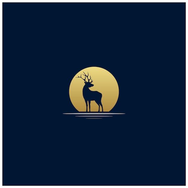 Exotic sunset deer silhouette logo design Premium Vector