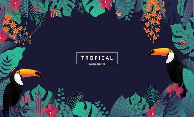 ヤシの葉とオオハシ鳥で飾られたエキゾチックな熱帯の背景 Premiumベクター