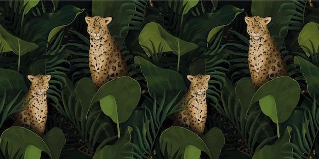 Экзотический тропический узор с леопардами в пальмовых листьях Premium векторы