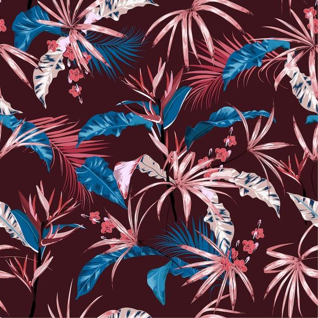 Exotic tropical vector background with hawaiian plants Premium Vector