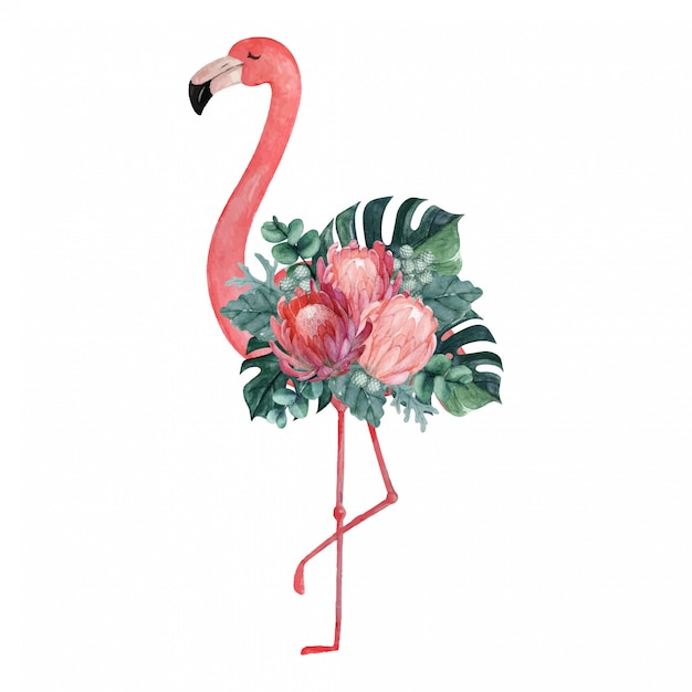 Exotic watercolor flamingo illustration with tropical floral arrangement Premium Vector