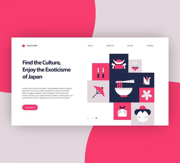 The exoticisme of japan website template Premium Vector