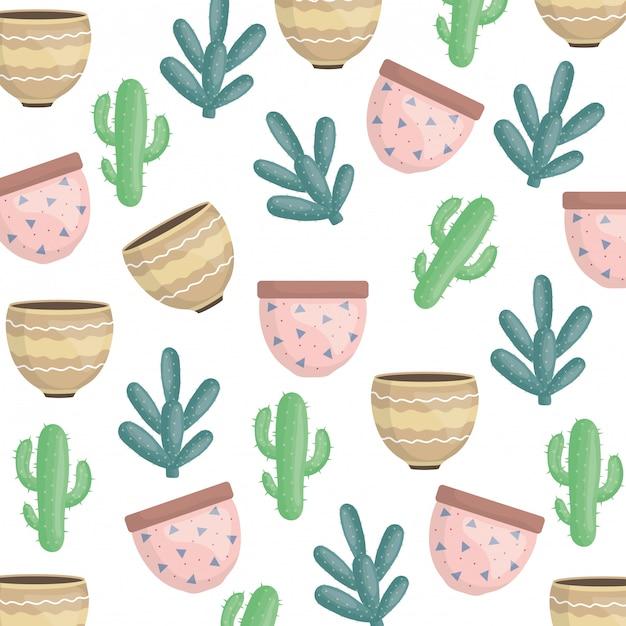Exotics cactus plants and ceramic pots pattern Free Vector