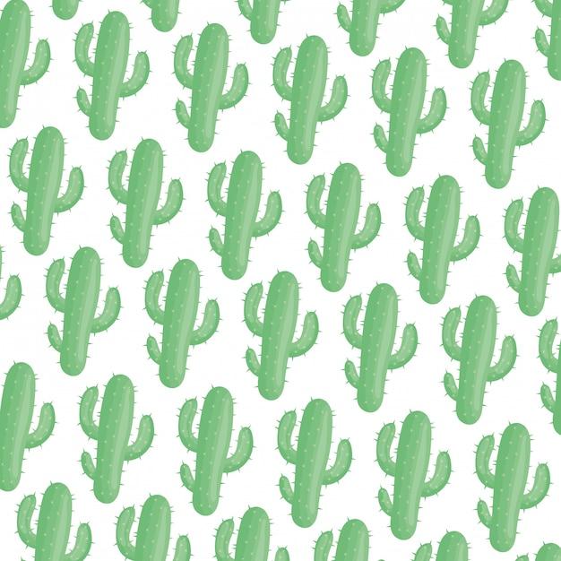 Exotics cactus plants natural pattern Free Vector