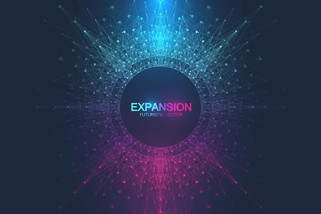 Expansion of life. colorful explosion background with connected line and dots illustration Premium Vector