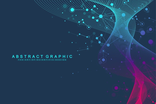 Expansion of life. colorful explosion background with connected line and dots, wave flow. Premium Vector