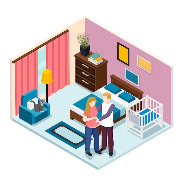 Expectation baby isometric composition Free Vector