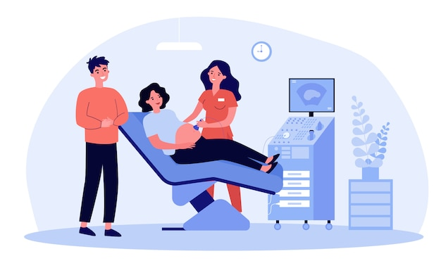 Expecting couple visiting doctor for ultrasound test Premium Vector