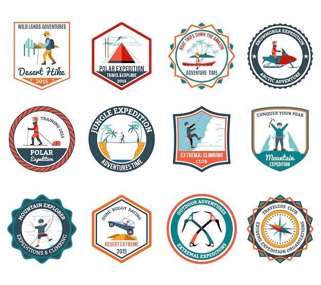 Expedition emblems set Premium Vector