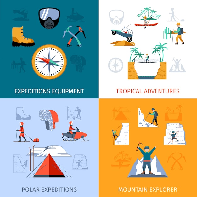 Expedition flat set Free Vector