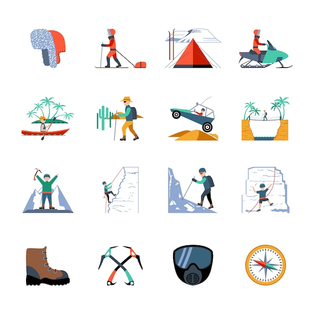 Expedition icons set Free Vector