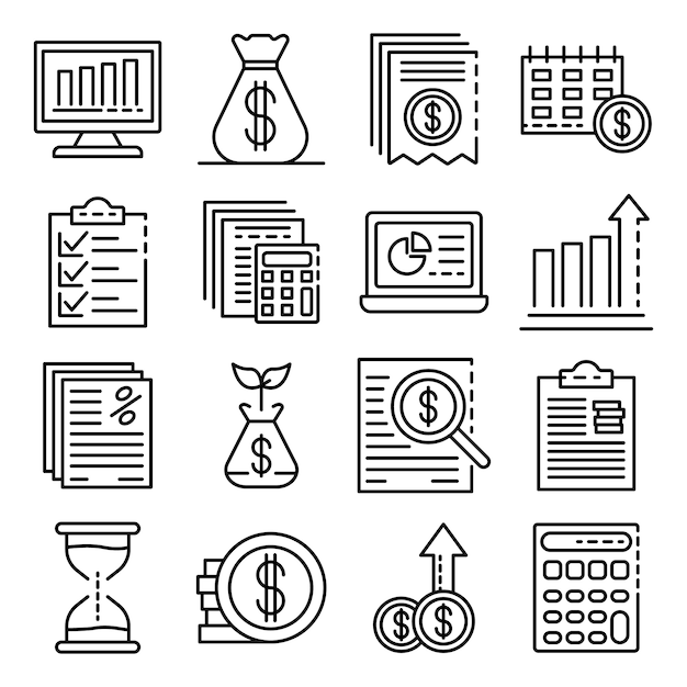 Expense report icons set. outline set of expense report vector icons Premium Vector