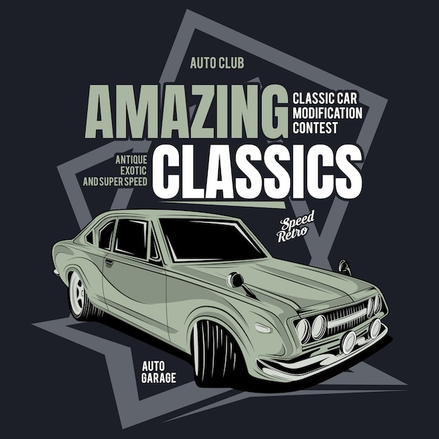 Expensive classic, poster of a classic motorcycle Premium Vector