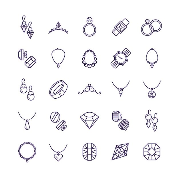 Expensive gold jewelry with diamond line icons and wedding accessories symbols Premium Vector