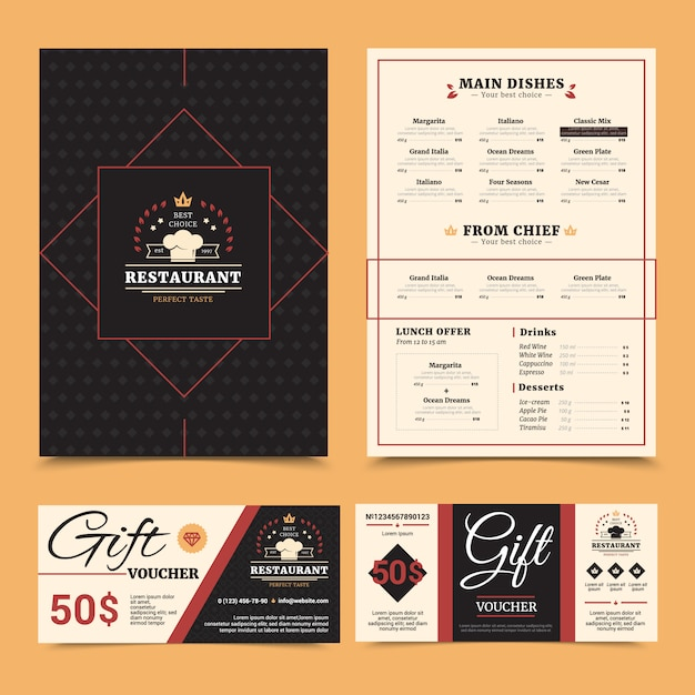 Expensive restaurant menu with chef dishes choice and gift voucher card stylish set pinboard background Free Vector
