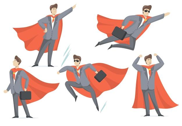 Опытный бизнесмен в костюме супергероя плоский набор для веб-дизайна. Бесплатные векторы