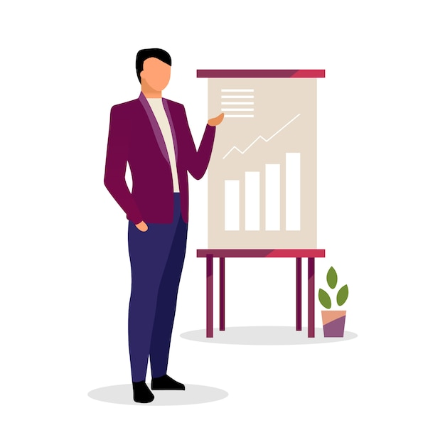 Expert making presentation vector illustration. economist, businessman, manager showing growth rates on board isolated character. cartoon finance analyst presenting data visualization in report Premium Vector