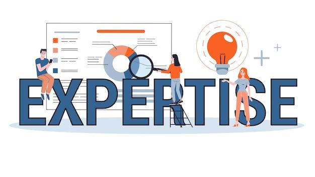 전문 웹 배너 개념. 비즈니스 경험에 대한 아이디어 프리미엄 벡터