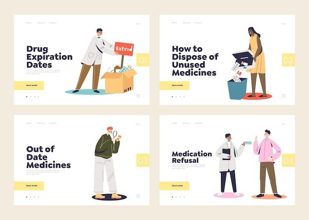 Концепции отказа от лекарств и лечения с истекшим сроком действия из набора шаблонов целевых страниц. срок годности таблеток, аптека и лекарства Premium векторы