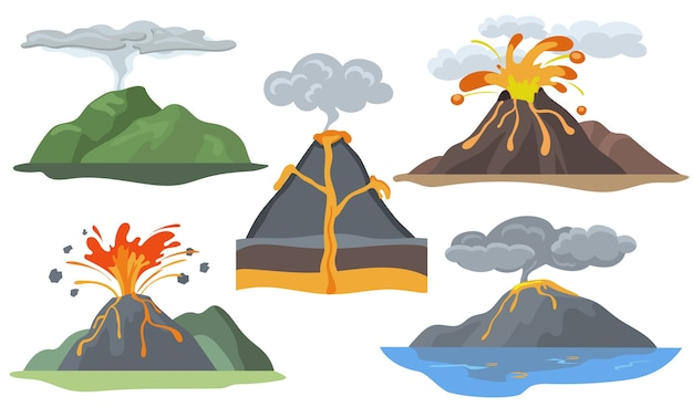 Exploding volcanoes set. landscape with magma eruption, lava, fire, smoke and ash. Free Vector