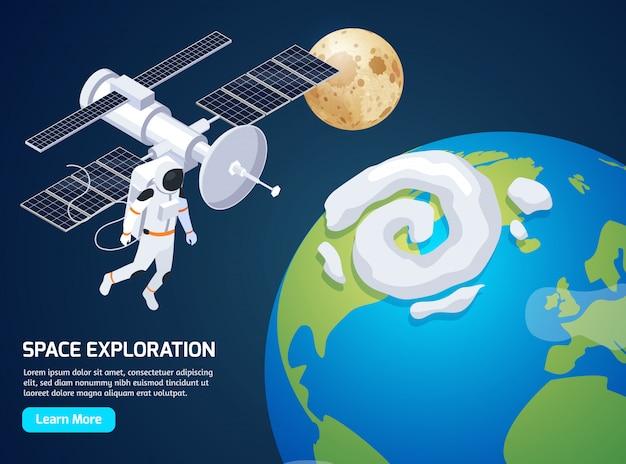 L'esplorazione isometrica con il testo impara più bottone e immagini dell'astronauta dello spacewalking e dell'illustrazione di vettore del satellite Vettore gratuito