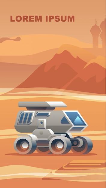Exploration new terrain surface mars. Premium Vector