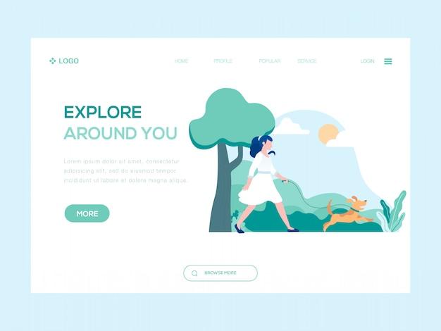 Explore around you web illustration Premium Vector
