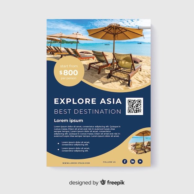 Explore asia travel flyer with photo Free Vector